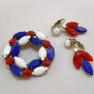 Jewelry - Vintage Red White Blue Rhinestone Pin Earrings Set